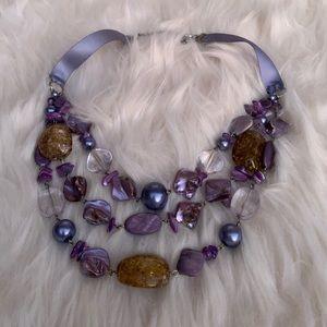 Purple Statement Necklace Pearl Bead Ribbon
